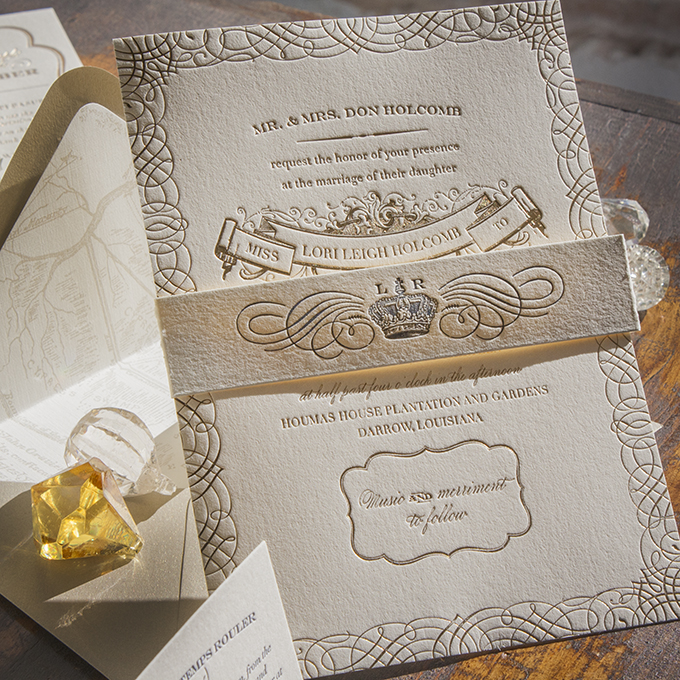 Inspired by the antiquity and romance of the French Quarter in New Orleans, this invitation suite is perfect for a soiré of Mardi Gras proportions or for an intimate celebration with family and friends.