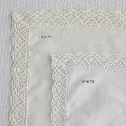 WHITE OR IVORY LACE TRIM HANDKERCHIEFS