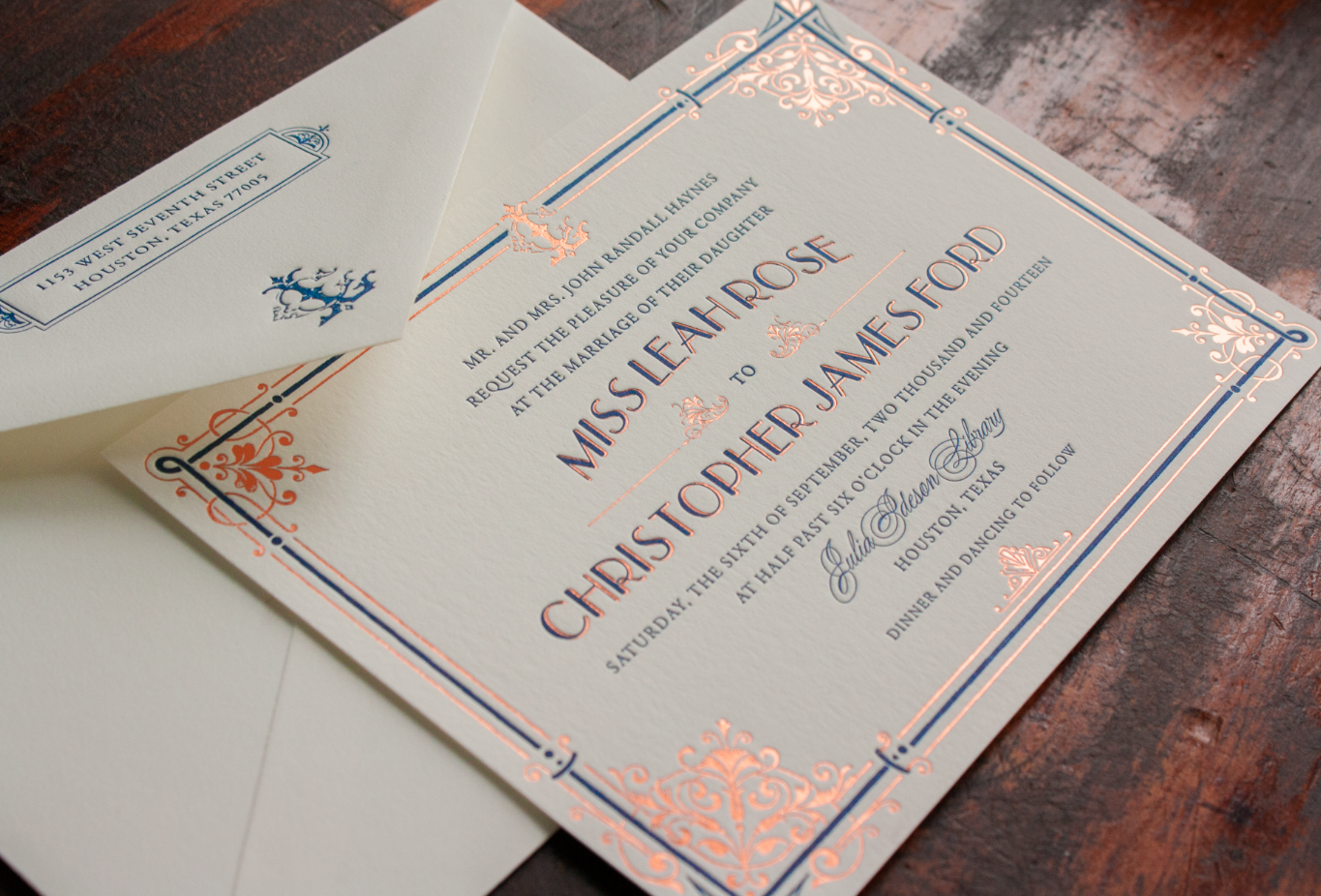 rose gold foil letterpress Austen wedding invitation by Lucky Luxe