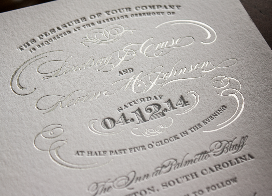 silver foil letterpress Boudoir wedding invitation by Lucky Luxe